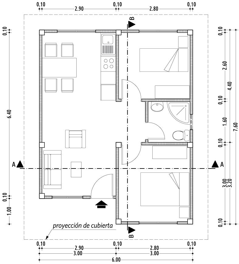 Planta arquitectonica el oficial for Simbologia de niveles en planos arquitectonicos