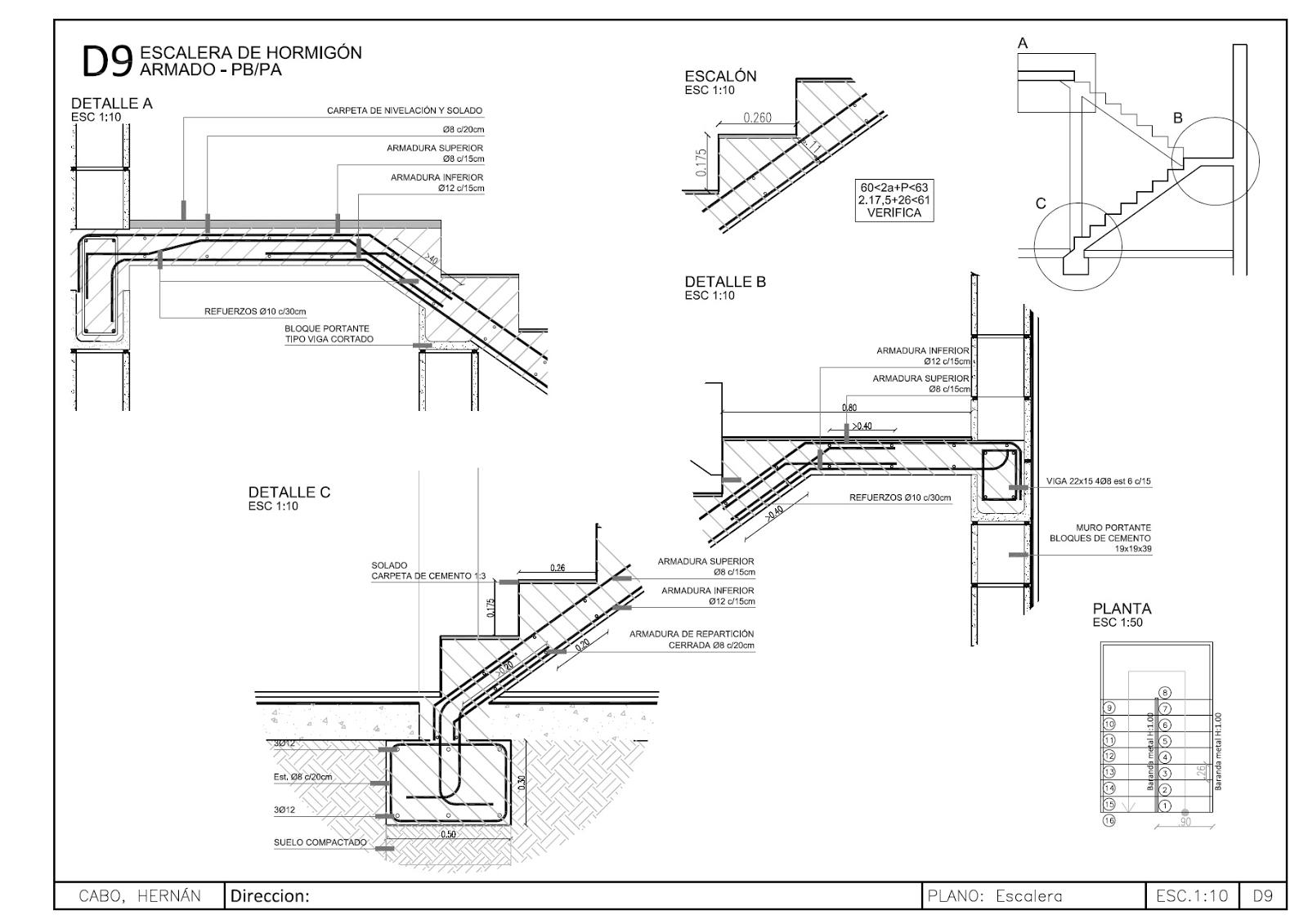 Plano escalera el oficial for Planos estructurales de piscinas